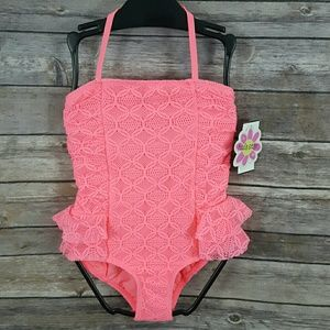 Hula Star Girls Coral Lace One-Piece Swimsuit- NEW
